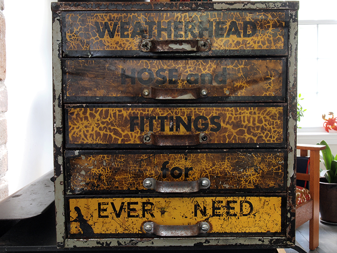 Vintage tool box industrial style cropped